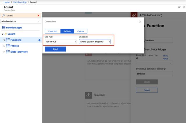 Select Azure IoT Hub