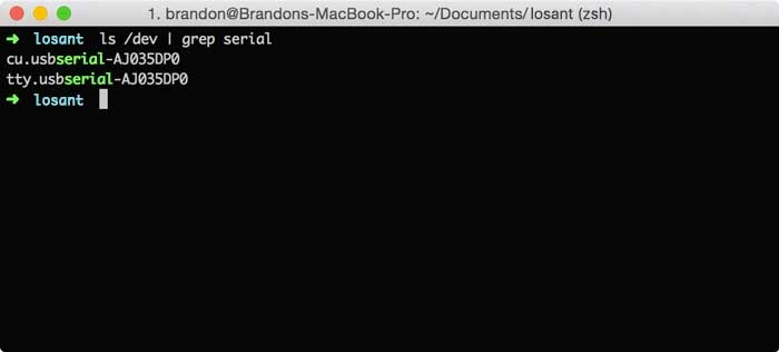 Find edison serial device on mac