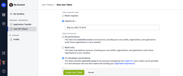 Create New User token screenshot