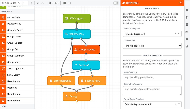 Edge workflow screenshot Group Update