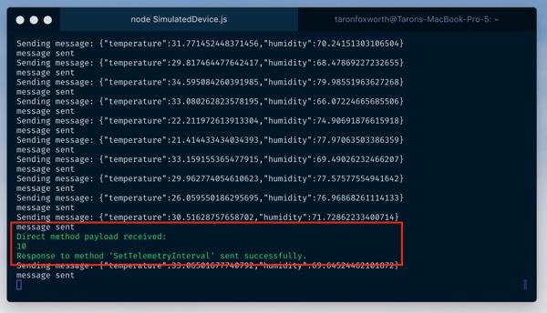 Azure Quickstart Terminal Direct Method