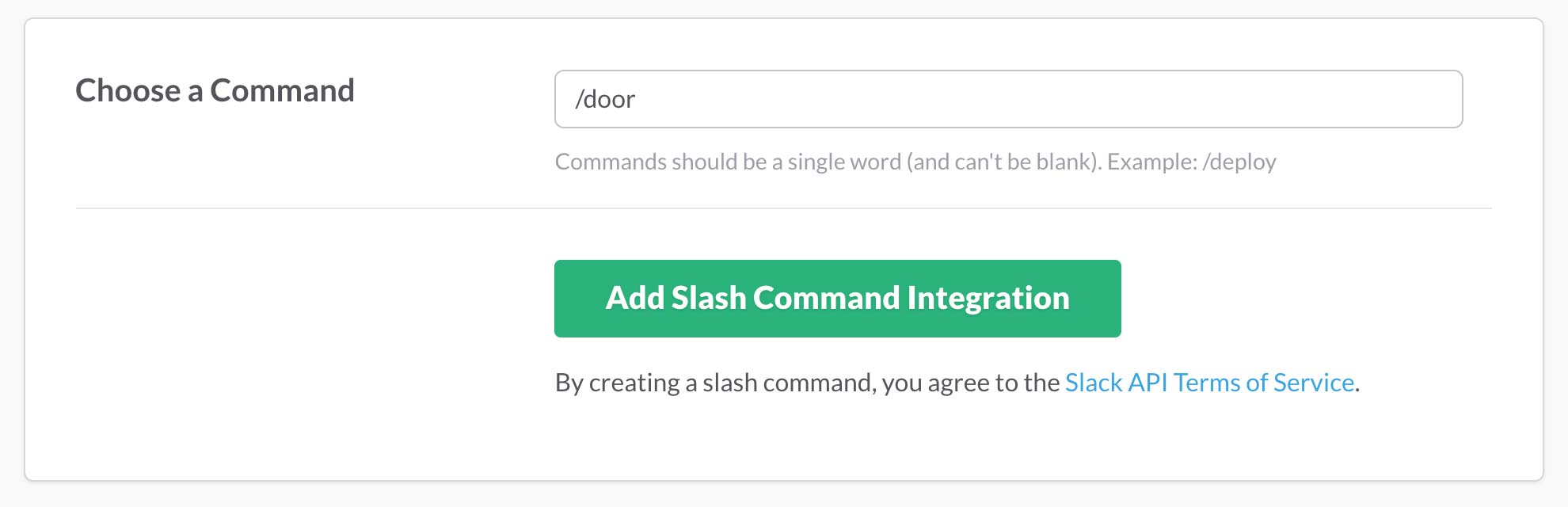New Slack Slash Command