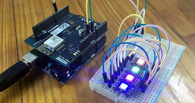 led setup microcontroller and Neopixels
