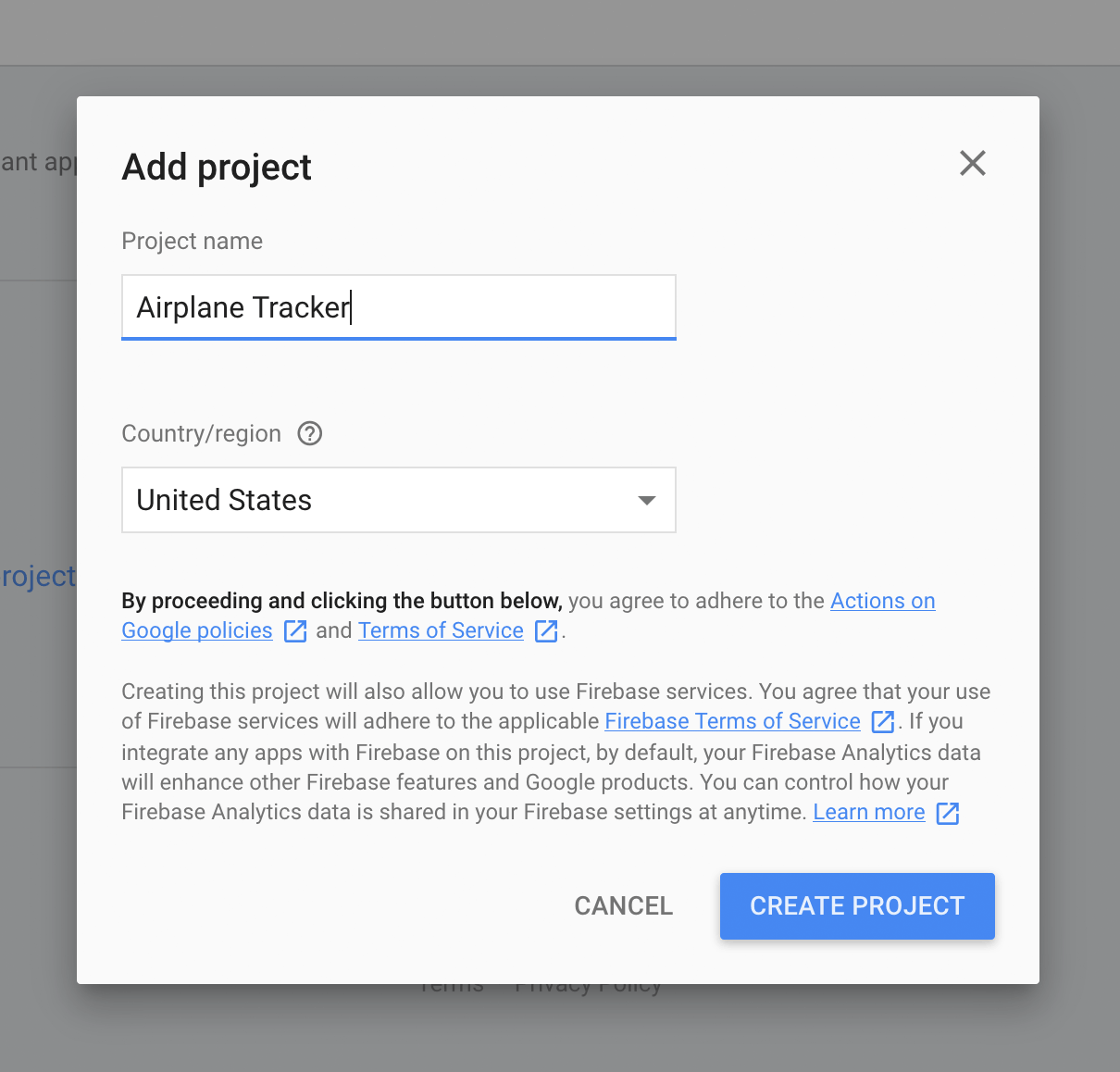 Google Actions Console - Add project popup