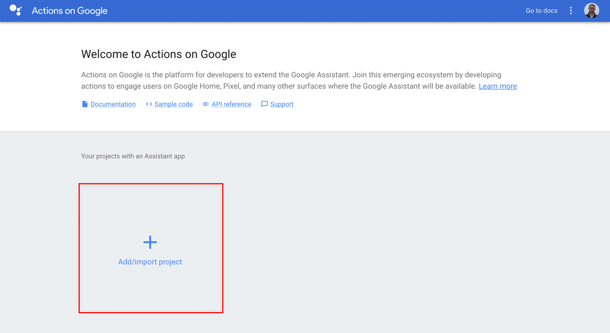 Google Actions Console - Add/import project button