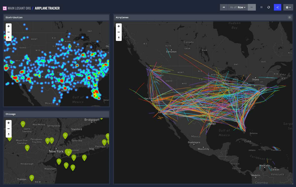 Losant dashboard with airplane geolocation data