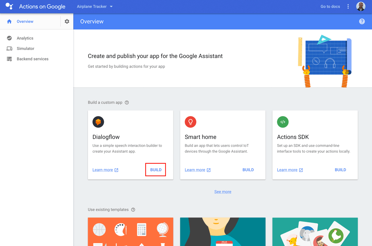 Google Actions Console welcome screen