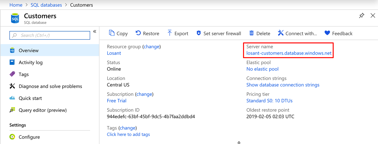 Azure SQL Database Host Location