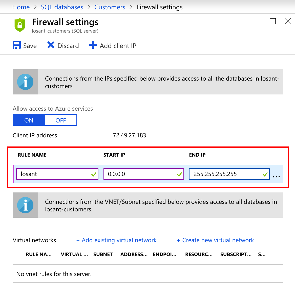 Azure SQL Firewall Settings
