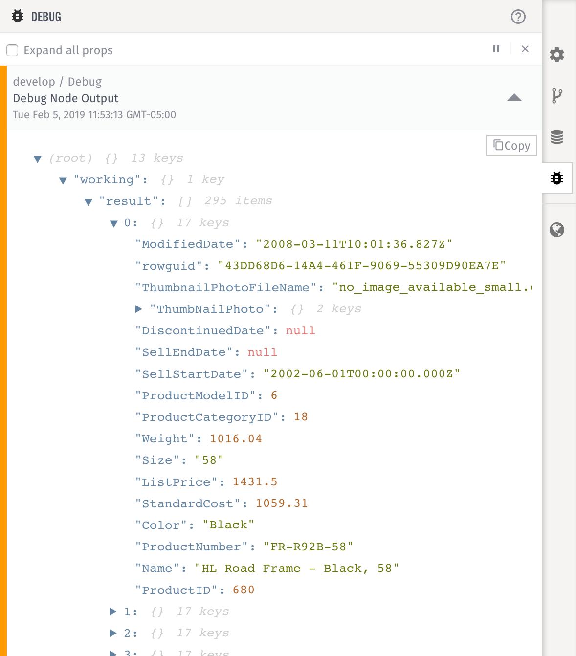 Losant SQL Node Debug Output Example