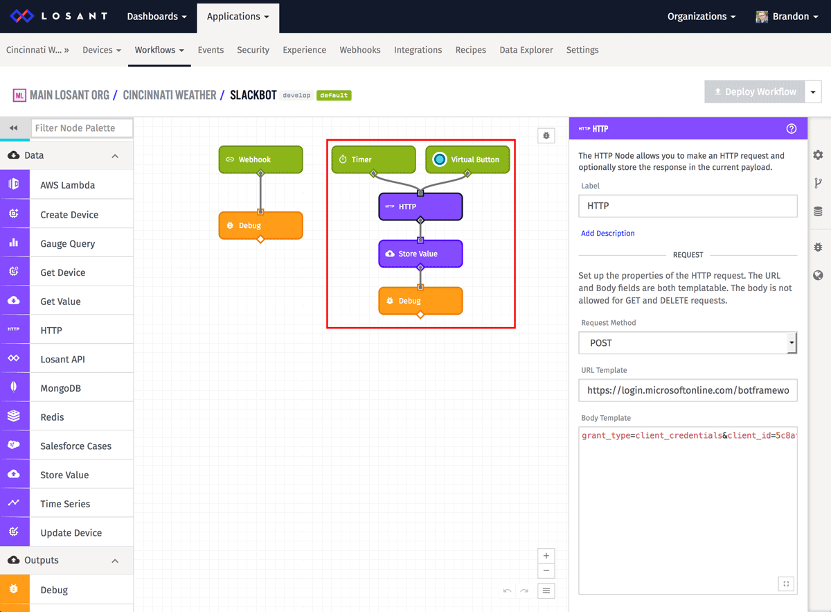 Losant Workflow showing webhook and debug