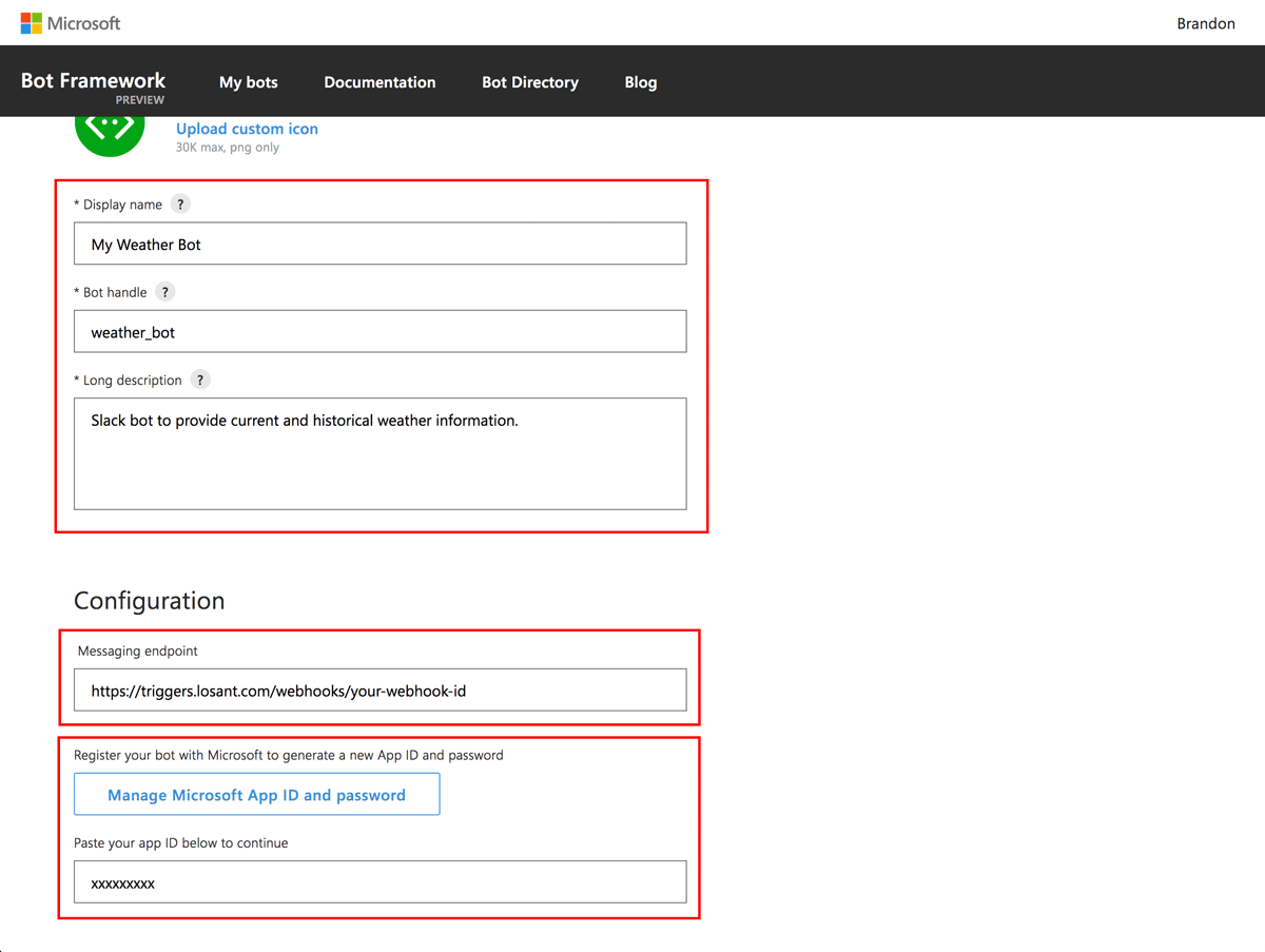 How to configure various details of your bot
