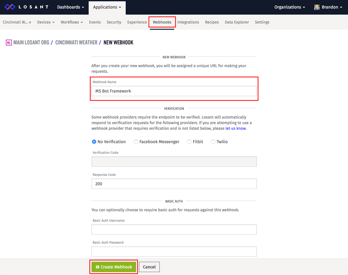 Losant Application view showing how to create a webhook