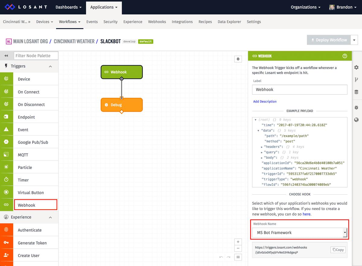 Adding a Debug node to a Losant Workflow