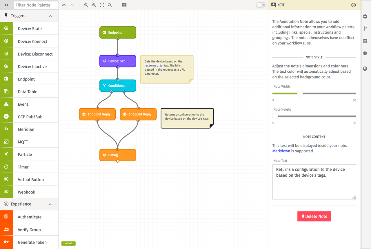 Losant Workflow Notes