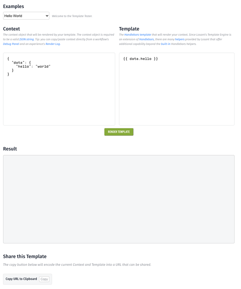 UI of the Template Tester