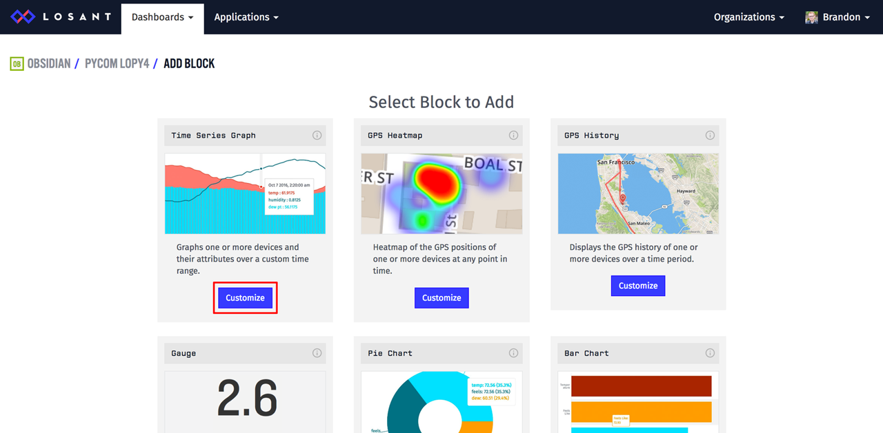 Losant dashboard blocks