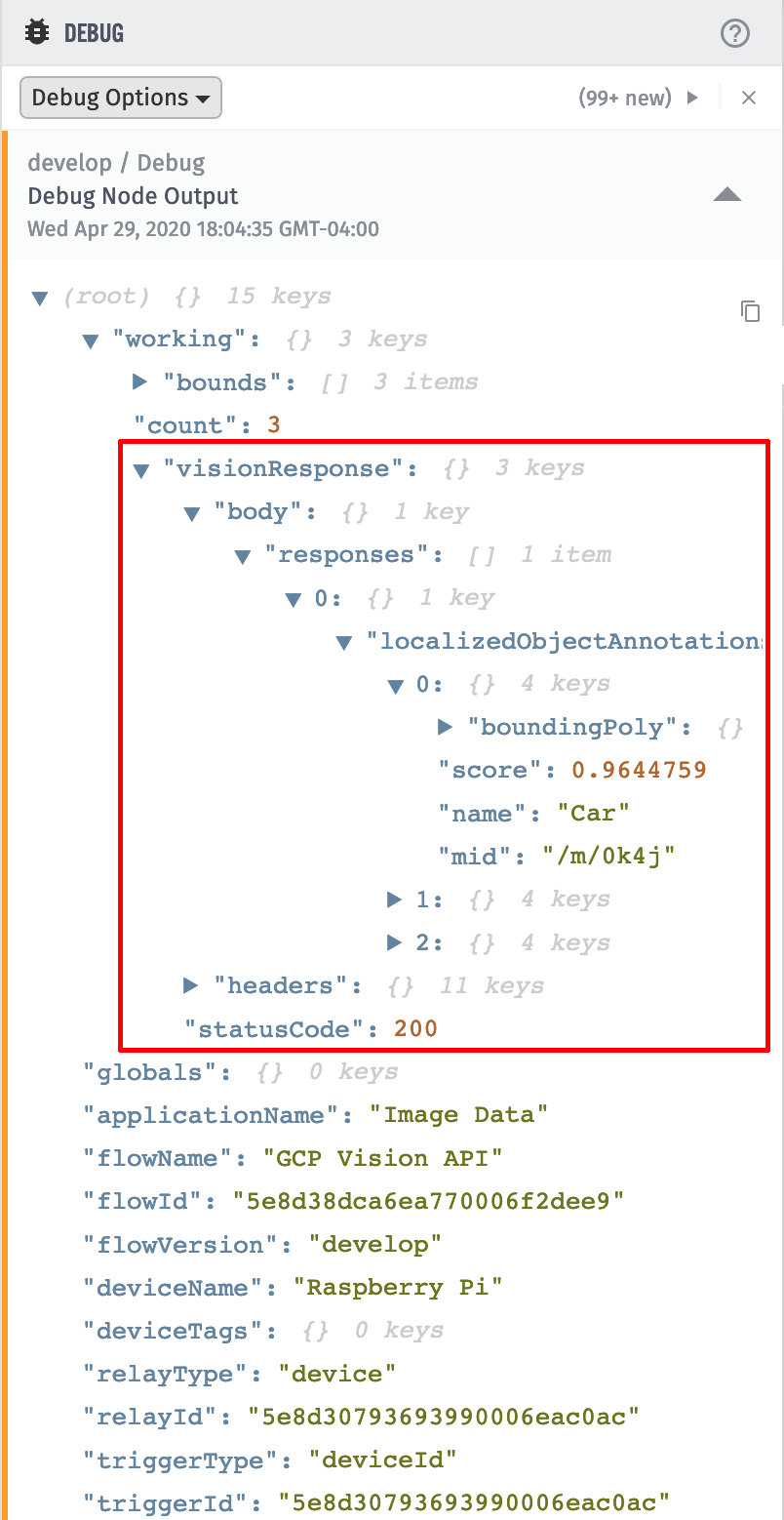 Losant Debug Output Google Vision API