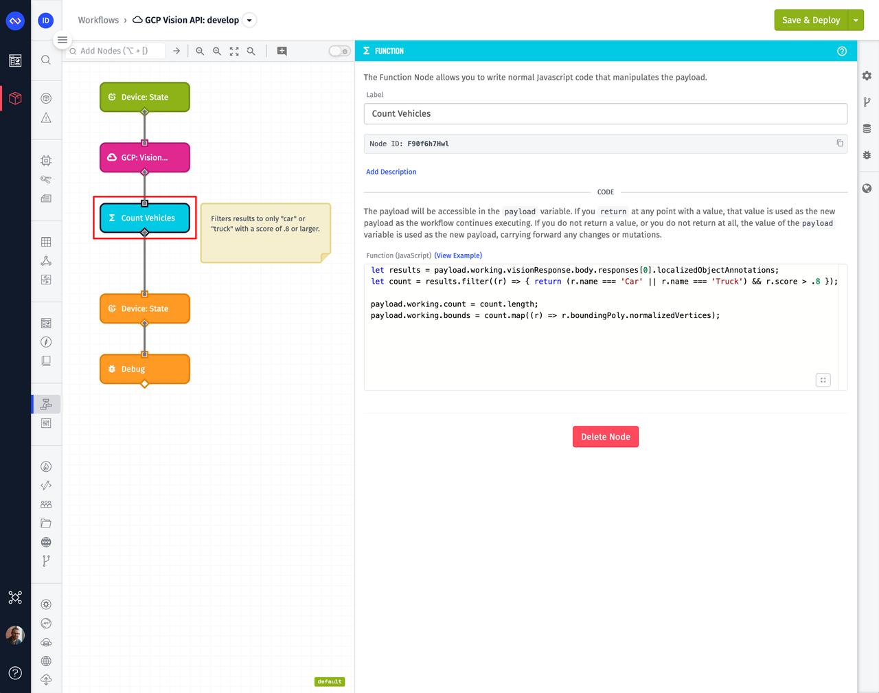 Losant Function Node Filtering Google Vision API Results