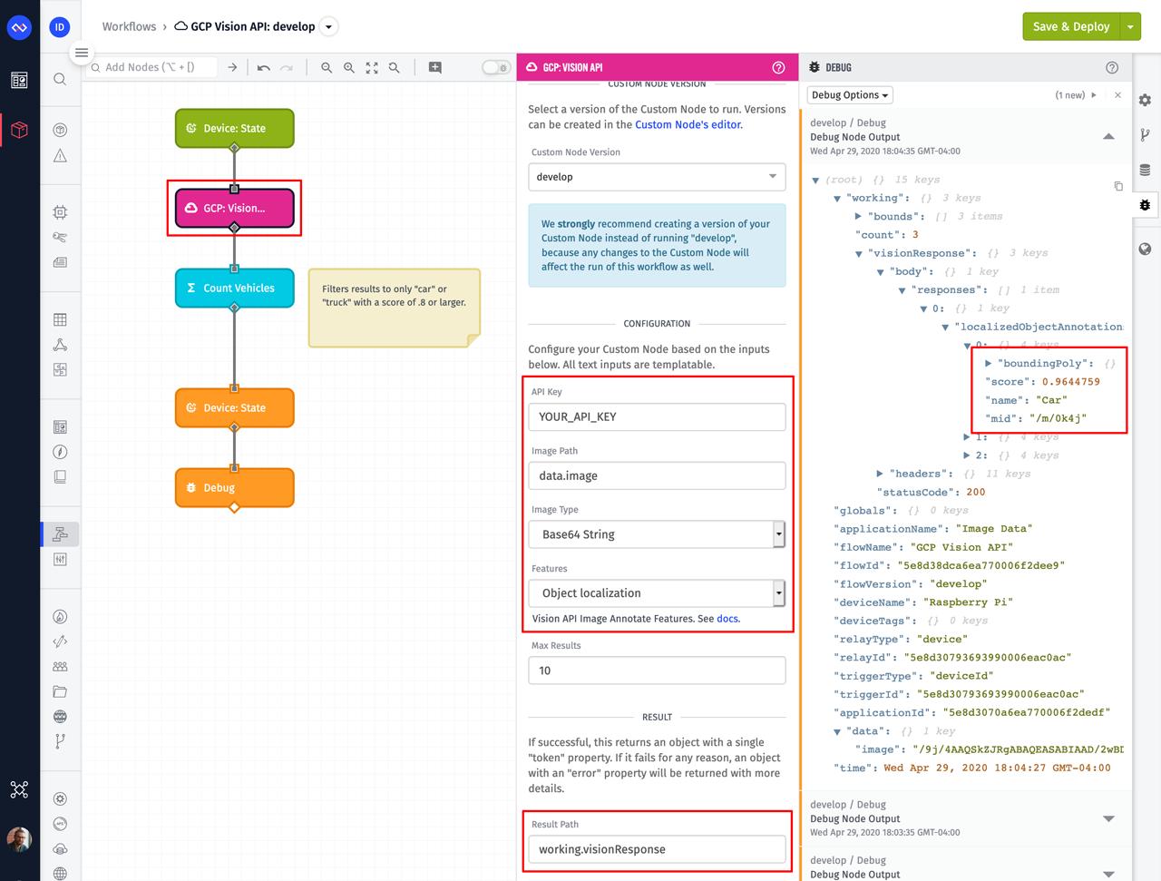 Losant Workflow with GCP Vision API Node