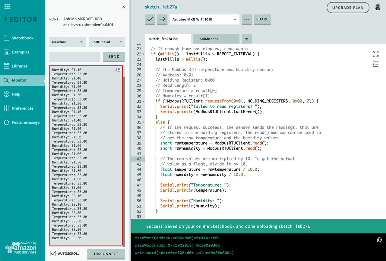Arduino Serial Monitor with Modbus RTU Data