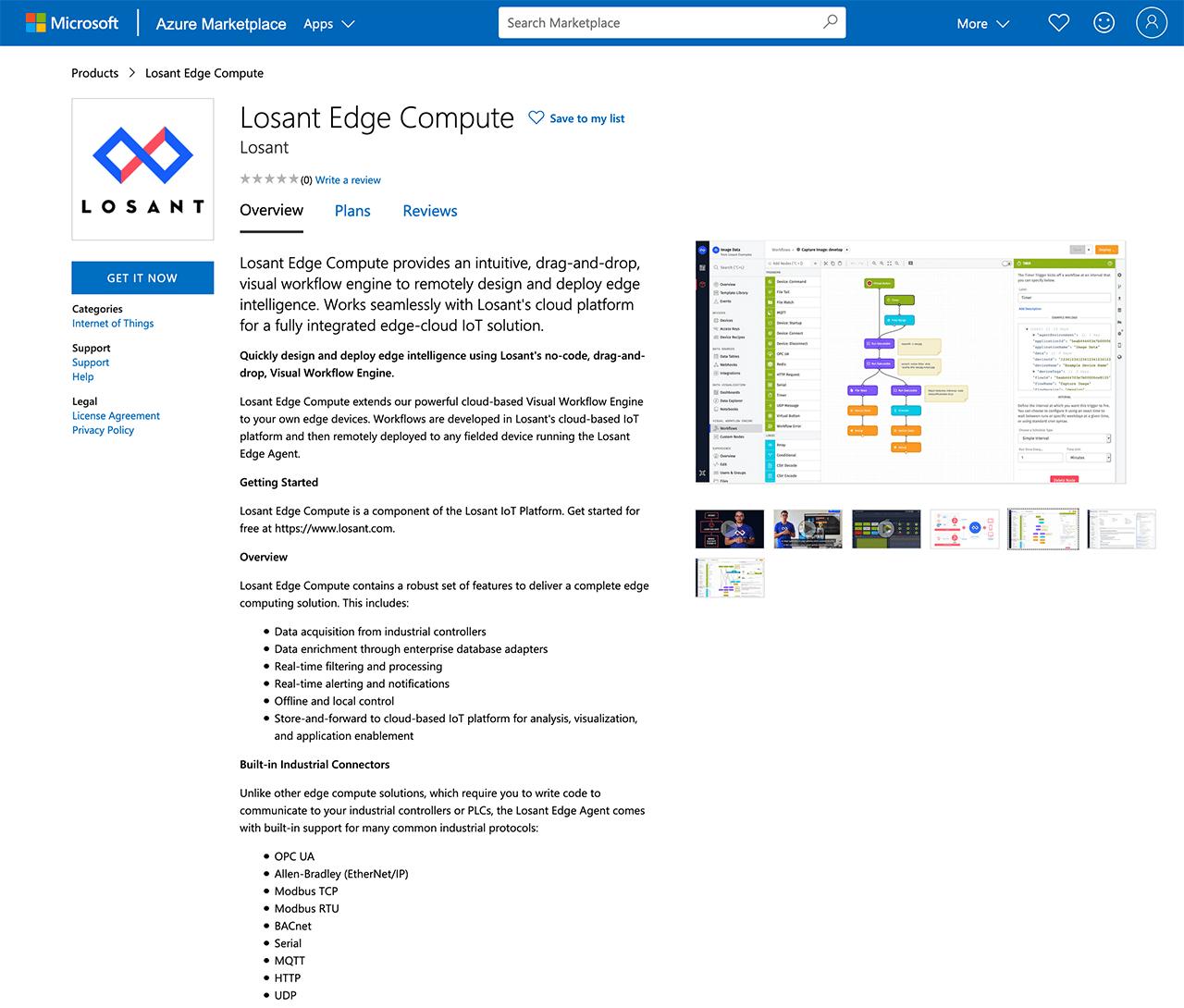 Losant Edge Compute in Azure Marketplace