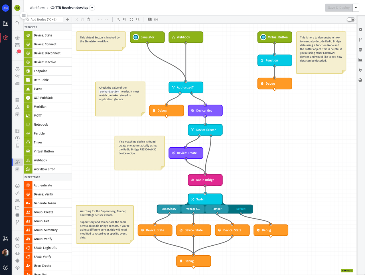 LoRaWAN Decoding Losant Workflow
