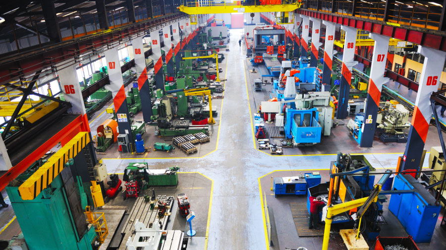 This is an aerial view of a manufacturing plant floor.