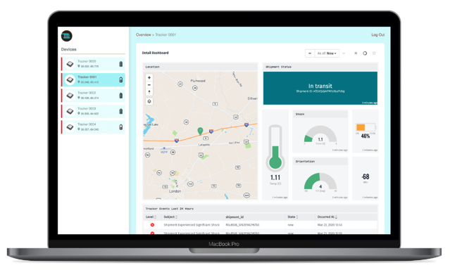 Losant IoT Platform Application Template Asset Tracker Screen Image.