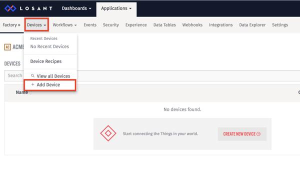 Adding a device to Losant IoT Platform