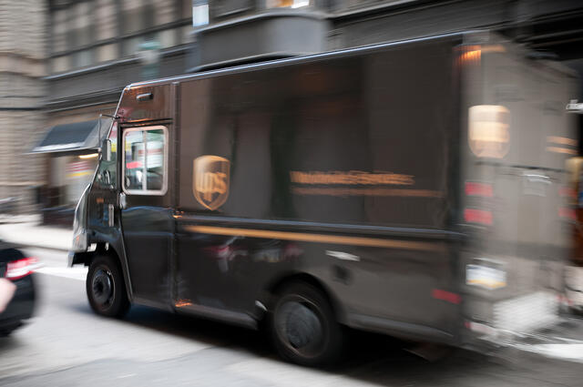 UPS truck in motion