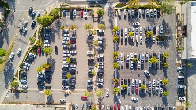 Large urban parking lot