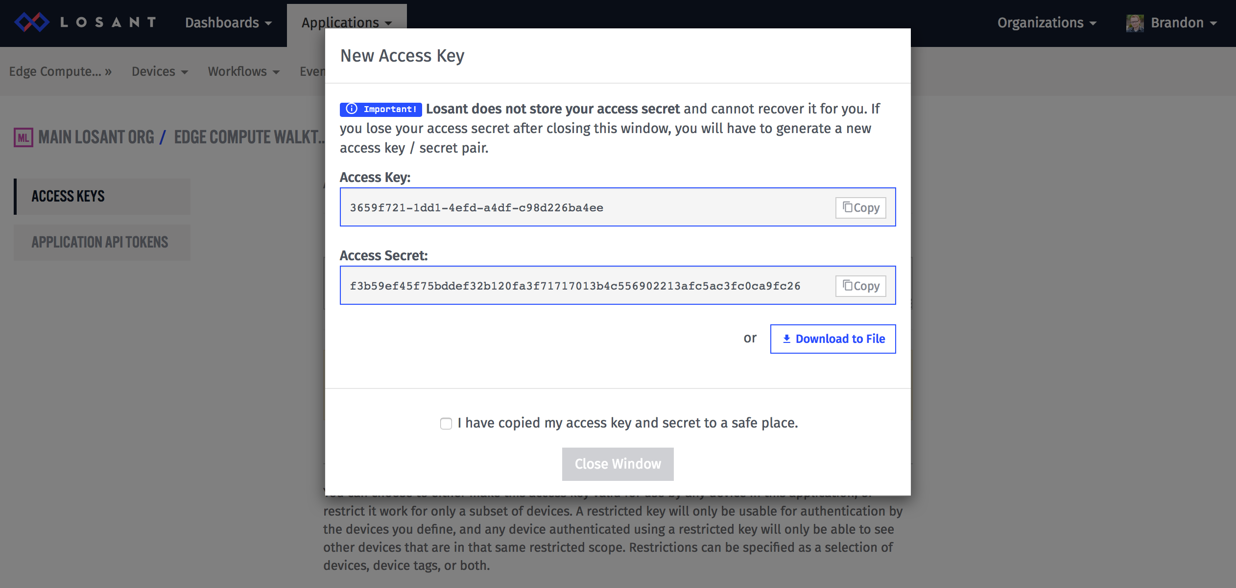 Access Key Pop-Up