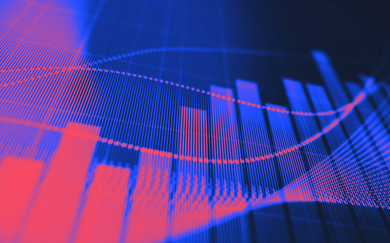 blue and red charts increase value
