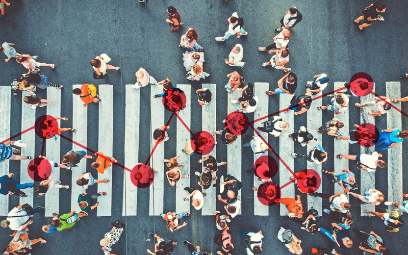 People on crosswalk with connection