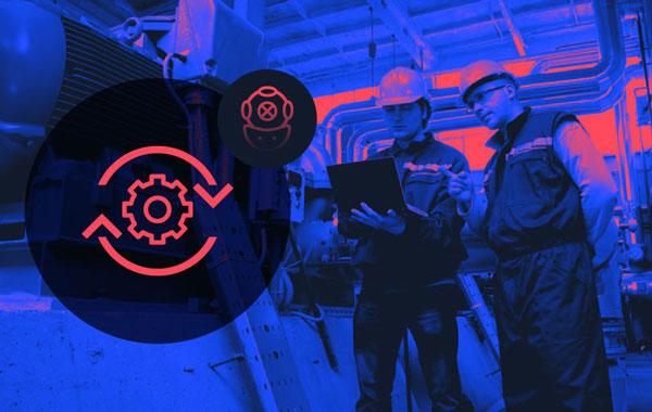 Two workers monitoring equipment Predictive Maintenance Deeper Dive Webinar