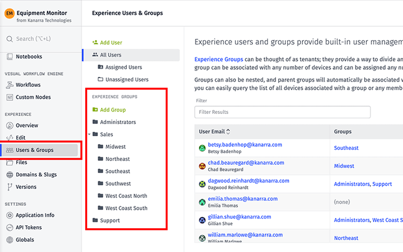 Experience Users and Groups Platform Screenshot