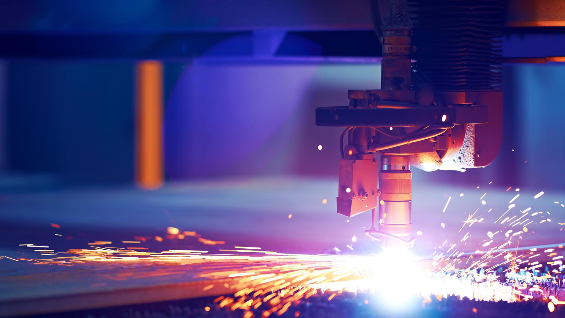 Machine-cutting-metal-causing-sparks