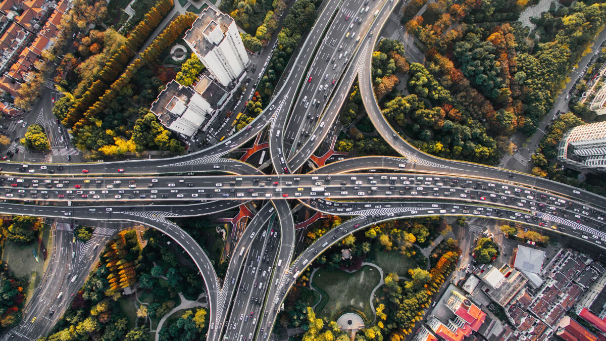 Intersecting interstate at aerial view